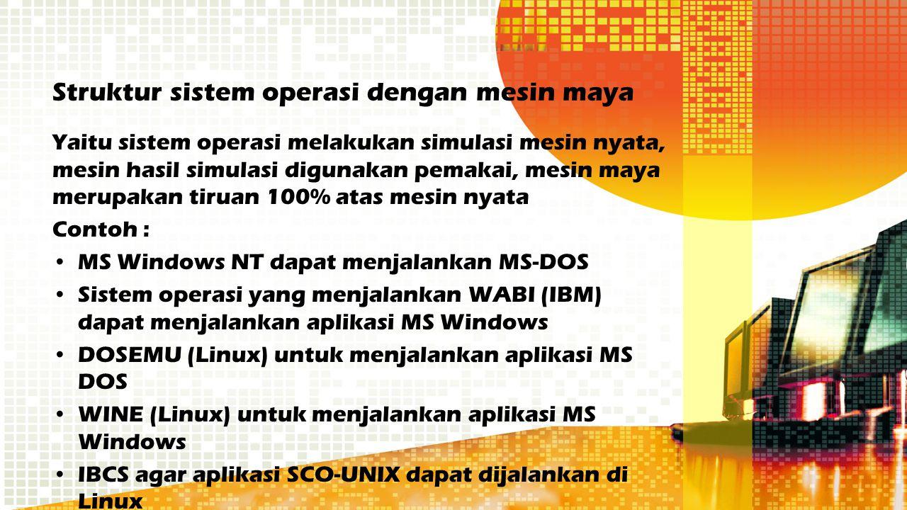 Struktur sistem operasi dengan mesin maya Yaitu sistem operasi melakukan simulasi mesin nyata, mesin hasil simulasi digunakan pemakai, mesin maya meru