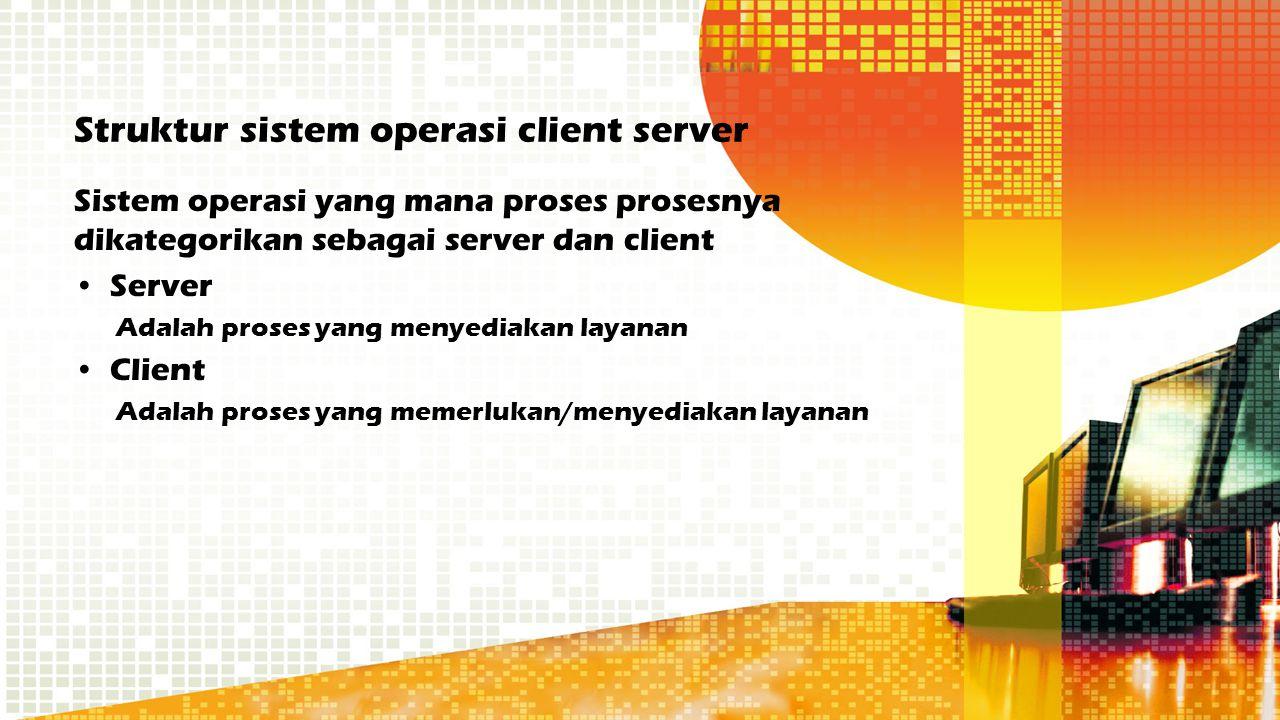 Struktur sistem operasi client server Sistem operasi yang mana proses prosesnya dikategorikan sebagai server dan client Server Adalah proses yang meny