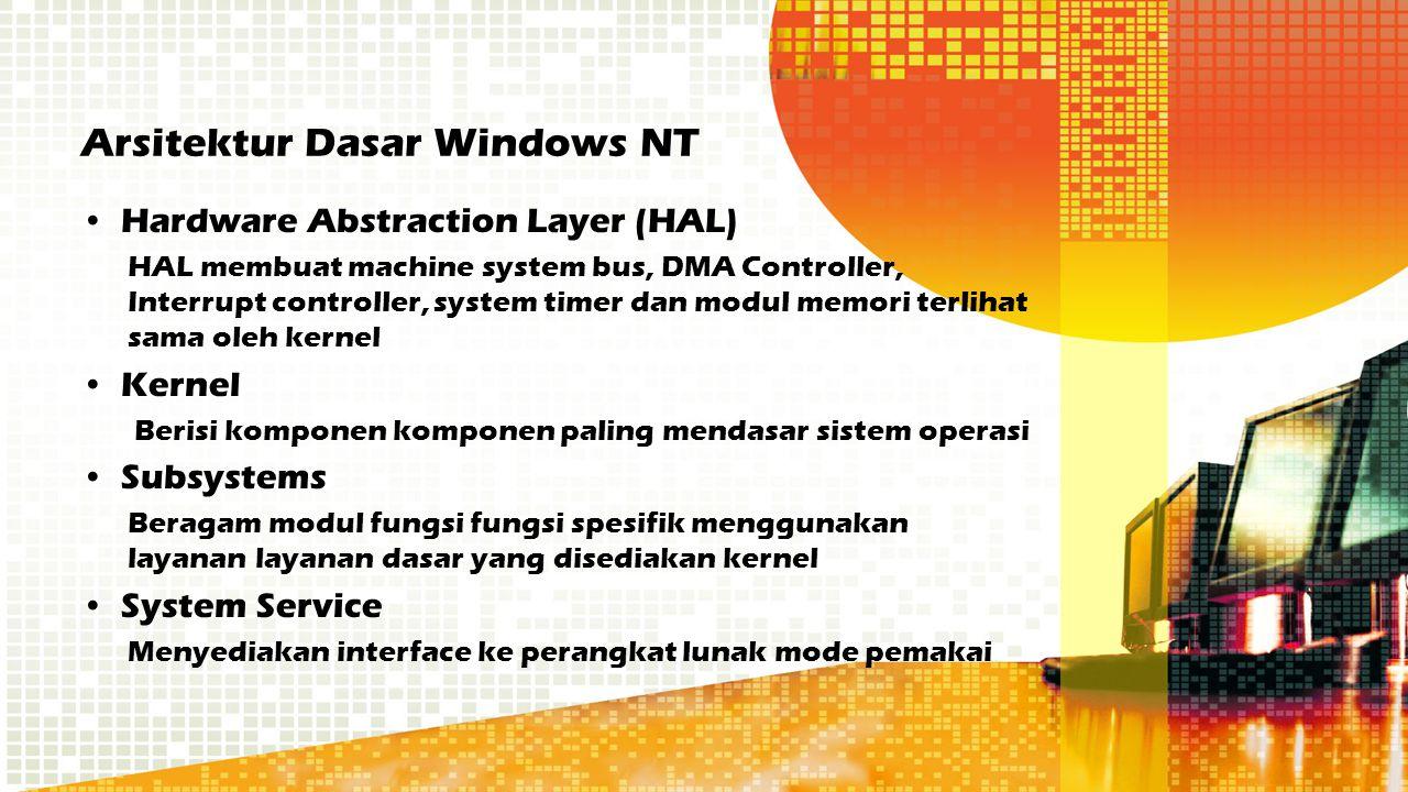 Arsitektur Dasar Windows NT Hardware Abstraction Layer (HAL) HAL membuat machine system bus, DMA Controller, Interrupt controller, system timer dan mo