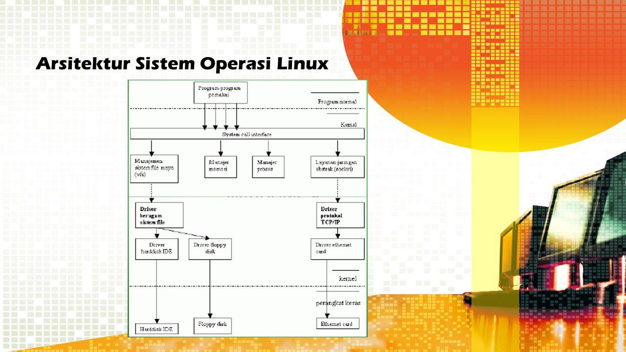 Fungsi kernel Kernel menyediakan tool dimana semua layanan sistem komputer disediakan Mencegah proses aplikasi mengakses perangkat keras secara langsung, memaksa proses menggunakan tool yang disediakan Memberi proteksi kepada pemakai dari gangguan pemakai lain