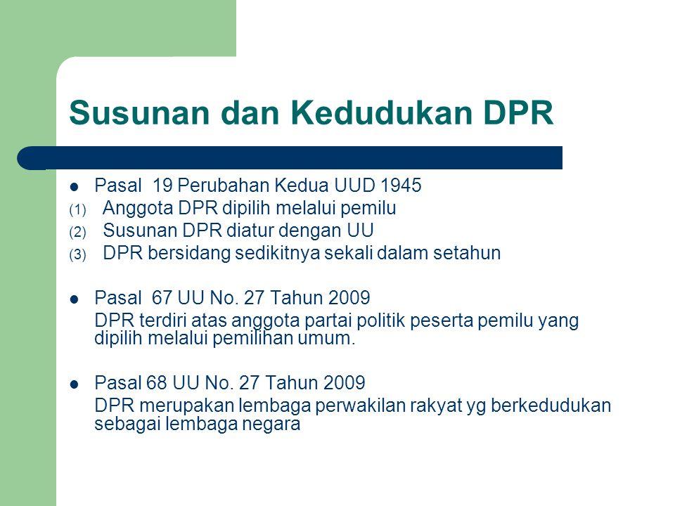Susunan dan Kedudukan DPR Pasal 19 Perubahan Kedua UUD 1945 (1) Anggota DPR dipilih melalui pemilu (2) Susunan DPR diatur dengan UU (3) DPR bersidang