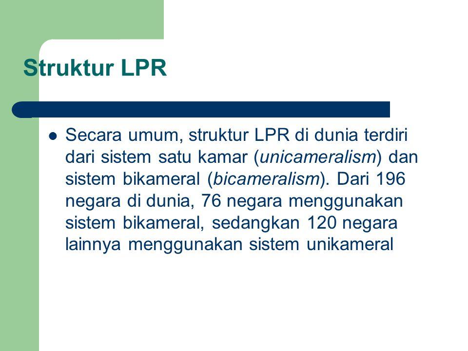 Struktur LPR Secara umum, struktur LPR di dunia terdiri dari sistem satu kamar (unicameralism) dan sistem bikameral (bicameralism). Dari 196 negara di