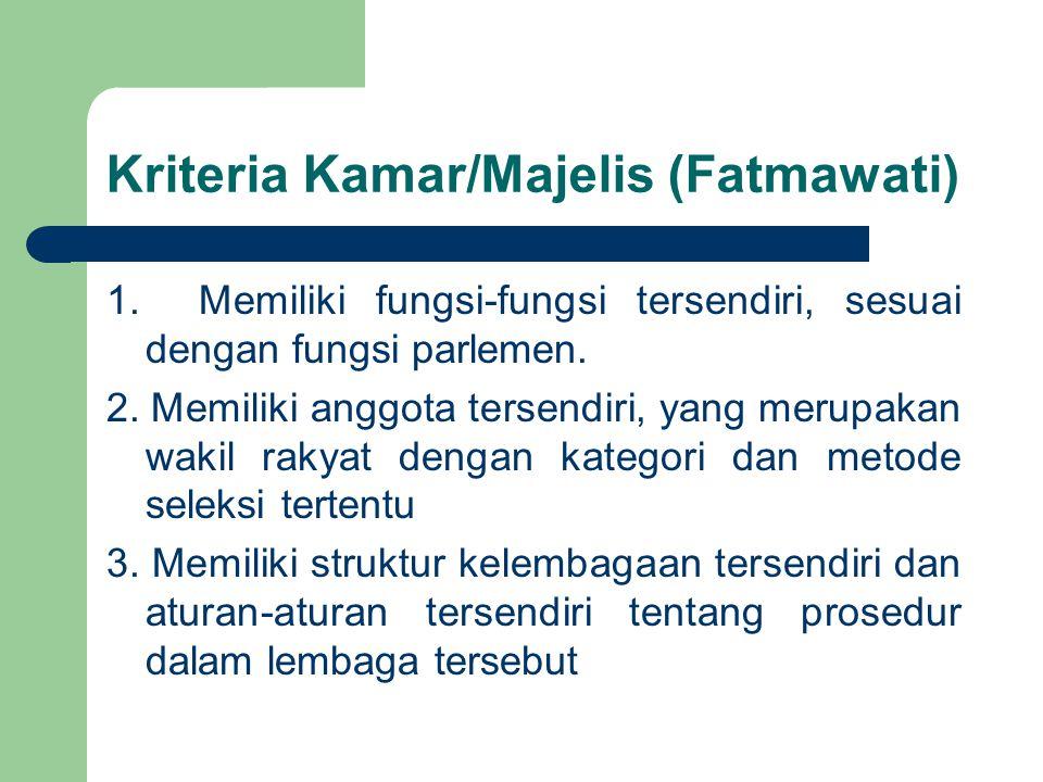 Kriteria Kamar/Majelis (Fatmawati) 1. Memiliki fungsi-fungsi tersendiri, sesuai dengan fungsi parlemen. 2. Memiliki anggota tersendiri, yang merupakan