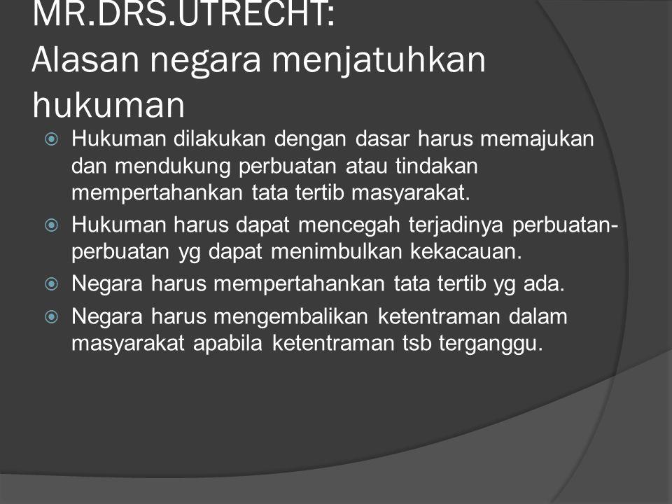 MR.DRS.UTRECHT: Alasan negara menjatuhkan hukuman  Hukuman dilakukan dengan dasar harus memajukan dan mendukung perbuatan atau tindakan mempertahanka