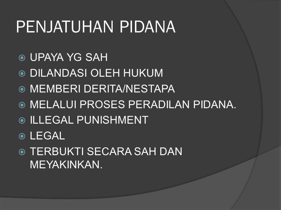 PENJATUHAN PIDANA  UPAYA YG SAH  DILANDASI OLEH HUKUM  MEMBERI DERITA/NESTAPA  MELALUI PROSES PERADILAN PIDANA.  ILLEGAL PUNISHMENT  LEGAL  TER