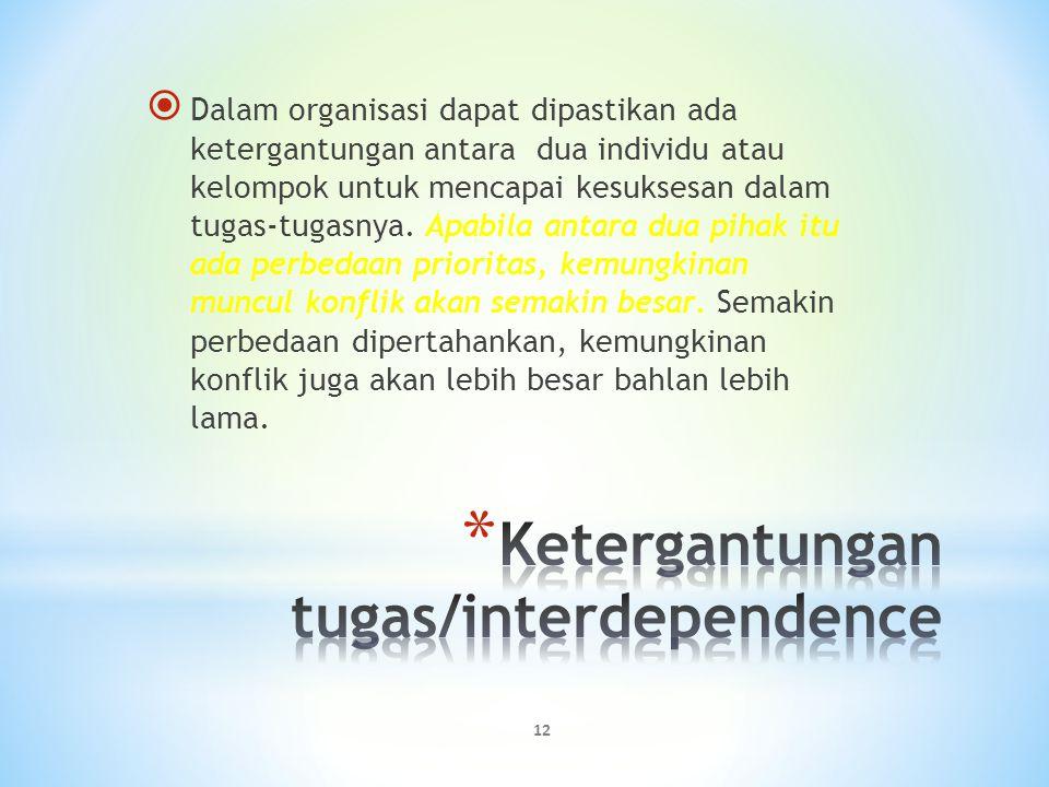 12  Dalam organisasi dapat dipastikan ada ketergantungan antara dua individu atau kelompok untuk mencapai kesuksesan dalam tugas-tugasnya. Apabila an
