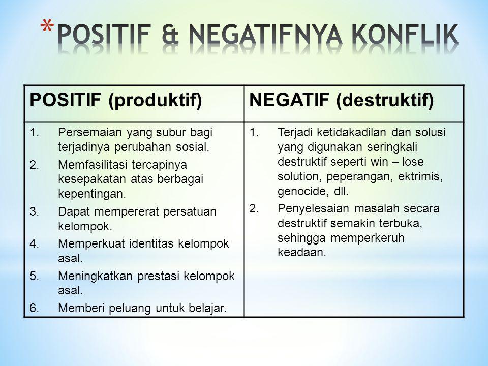 POSITIF (produktif)NEGATIF (destruktif) 1.Persemaian yang subur bagi terjadinya perubahan sosial. 2.Memfasilitasi tercapinya kesepakatan atas berbagai