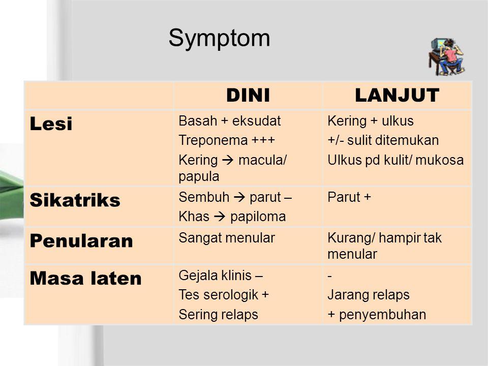 Symptom DINILANJUT Lesi Basah + eksudat Treponema +++ Kering  macula/ papula Kering + ulkus +/- sulit ditemukan Ulkus pd kulit/ mukosa Sikatriks Semb
