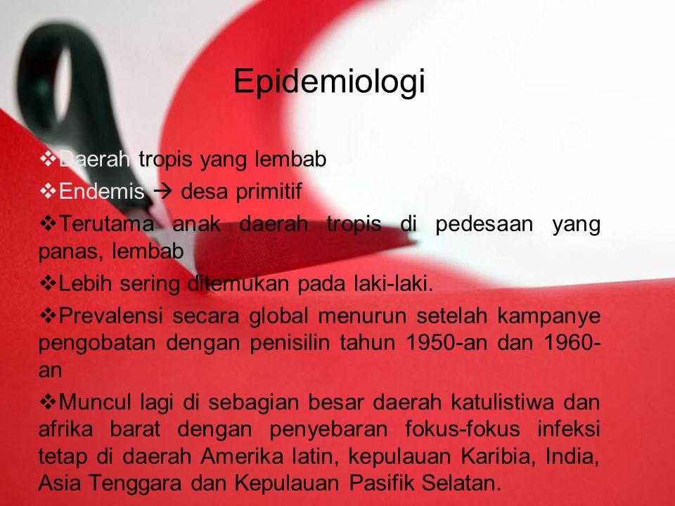 Epidemiologi  Daerah tropis yang lembab  Endemis  desa primitif  Terutama anak daerah tropis di pedesaan yang panas, lembab  Lebih sering ditemukan pada laki-laki.