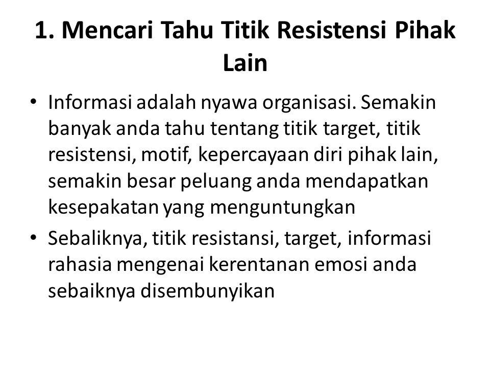 1.Mencari Tahu Titik Resistensi Pihak Lain Informasi adalah nyawa organisasi.