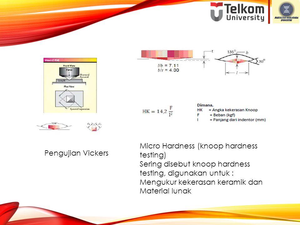 Pengujian Vickers Micro Hardness (knoop hardness testing) Sering disebut knoop hardness testing, digunakan untuk : Mengukur kekerasan keramik dan Mate