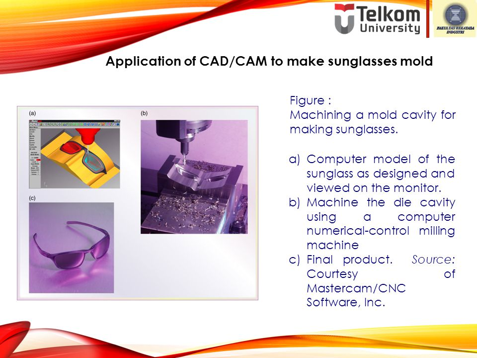 Figure : Machining a mold cavity for making sunglasses. a)Computer model of the sunglass as designed and viewed on the monitor. b)Machine the die cavi