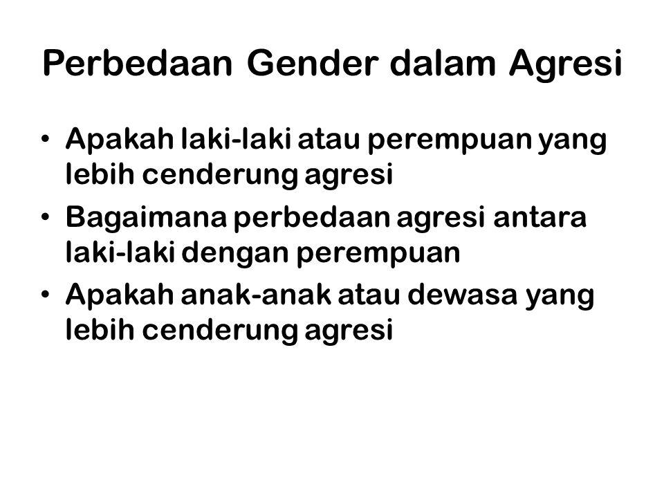 Perbedaan Gender dalam Agresi Apakah laki-laki atau perempuan yang lebih cenderung agresi Bagaimana perbedaan agresi antara laki-laki dengan perempuan