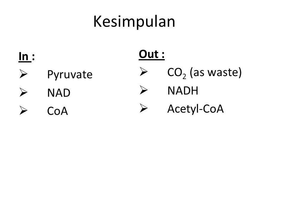 Kesimpulan In :  Pyruvate  NAD  CoA Out :  CO 2 (as waste)  NADH  Acetyl-CoA