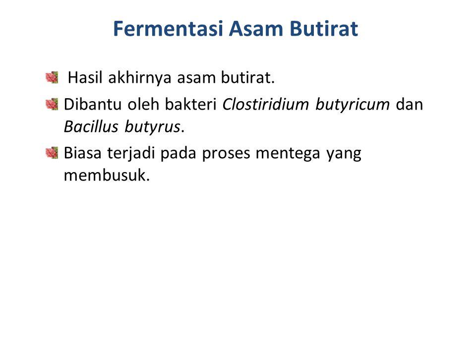 Fermentasi Asam Butirat Hasil akhirnya asam butirat. Dibantu oleh bakteri Clostiridium butyricum dan Bacillus butyrus. Biasa terjadi pada proses mente