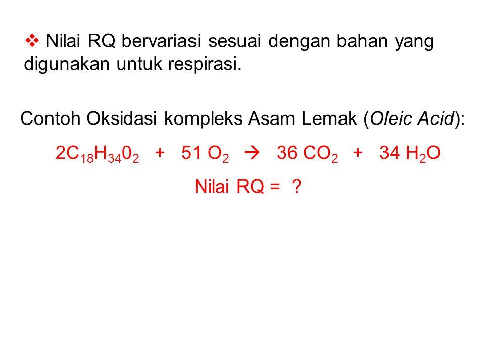  Nilai RQ bervariasi sesuai dengan bahan yang digunakan untuk respirasi. Contoh Oksidasi kompleks Asam Lemak (Oleic Acid): 2C 18 H 34 0 2 + 51 O 2 