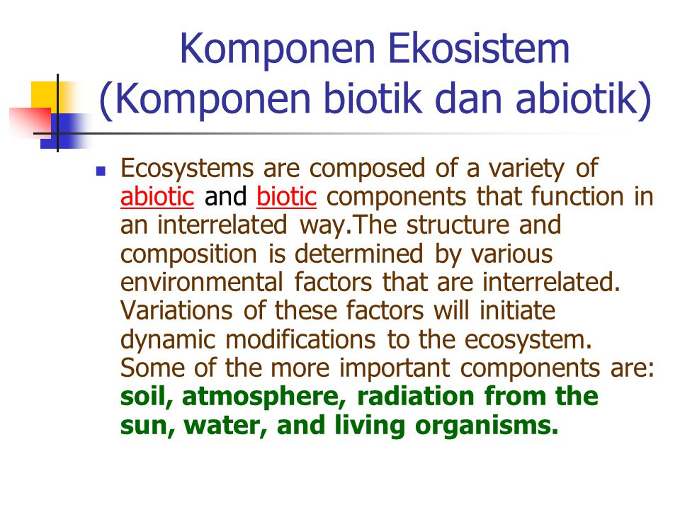 Komponen Ekosistem (Komponen biotik dan abiotik) Ecosystems are composed of a variety of abiotic and biotic components that function in an interrelate