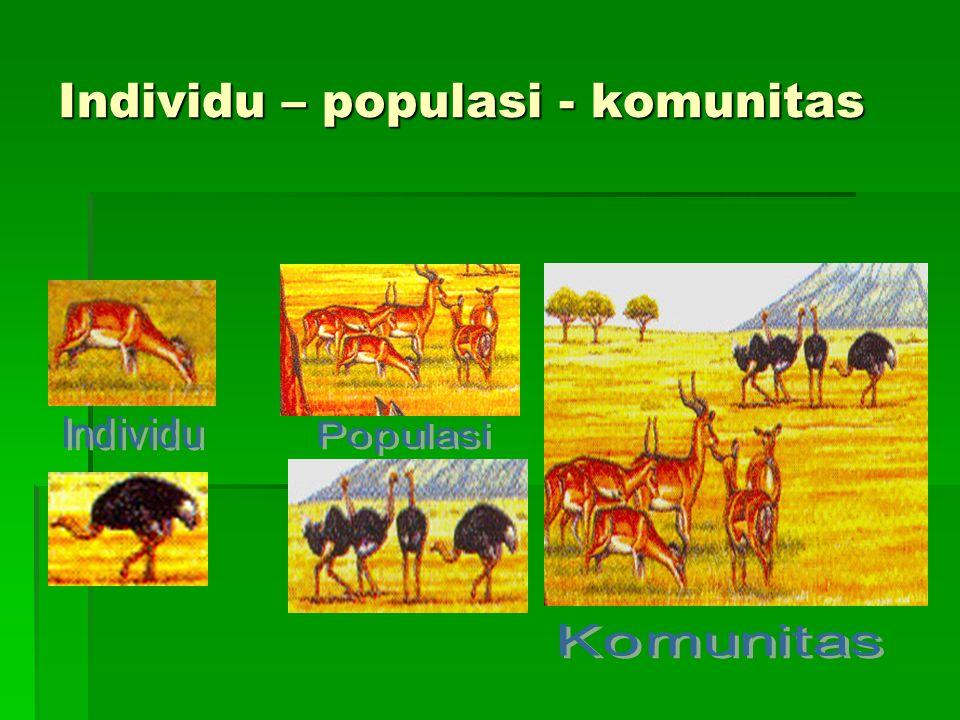 Kepadatan Populasi  Adalah jumlah individu sejenis dalam satuan luas tertentu.