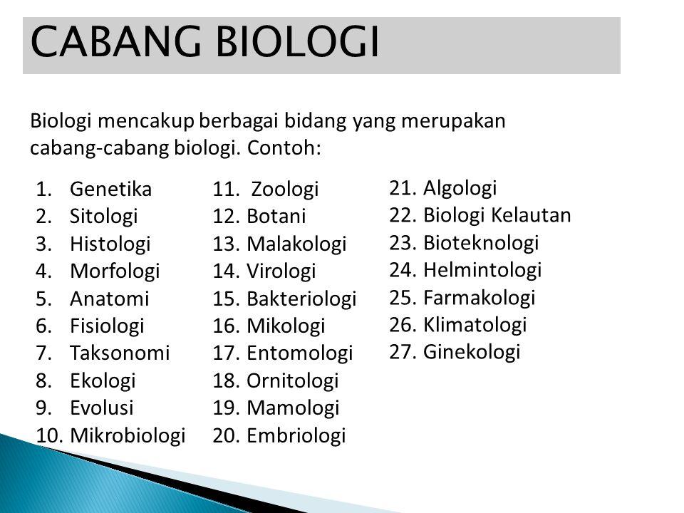 CABANG BIOLOGI Biologi mencakup berbagai bidang yang merupakan cabang-cabang biologi. Contoh: 1.Genetika 2.Sitologi 3.Histologi 4.Morfologi 5.Anatomi