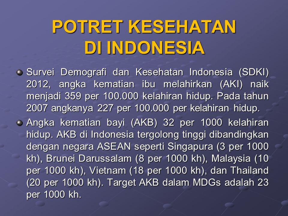 POTRET KESEHATAN DI INDONESIA Survei Demografi dan Kesehatan Indonesia (SDKI) 2012, angka kematian ibu melahirkan (AKI) naik menjadi 359 per 100.000 k