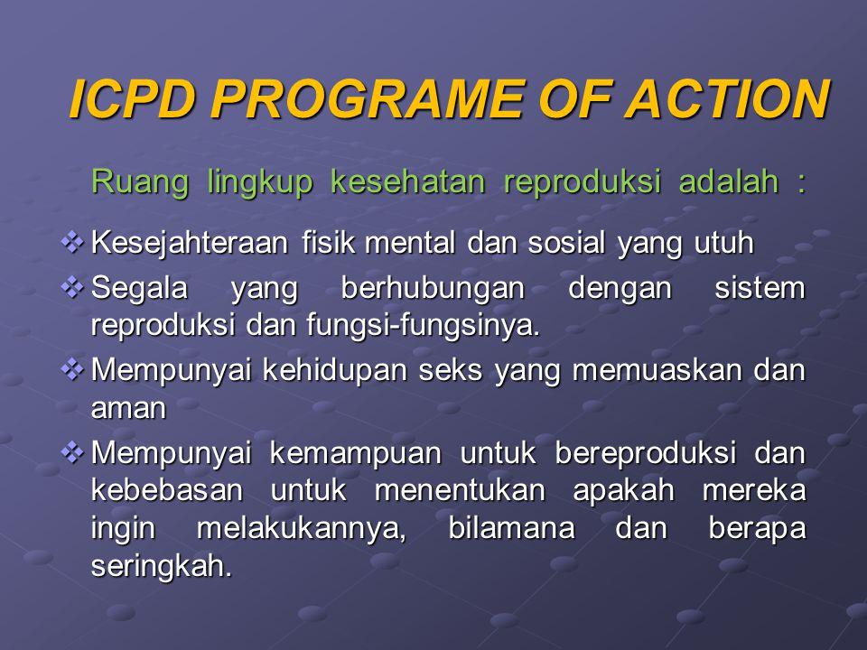 ICPD PROGRAME OF ACTION Ruang lingkup kesehatan reproduksi adalah :  Kesejahteraan fisik mental dan sosial yang utuh  Segala yang berhubungan dengan