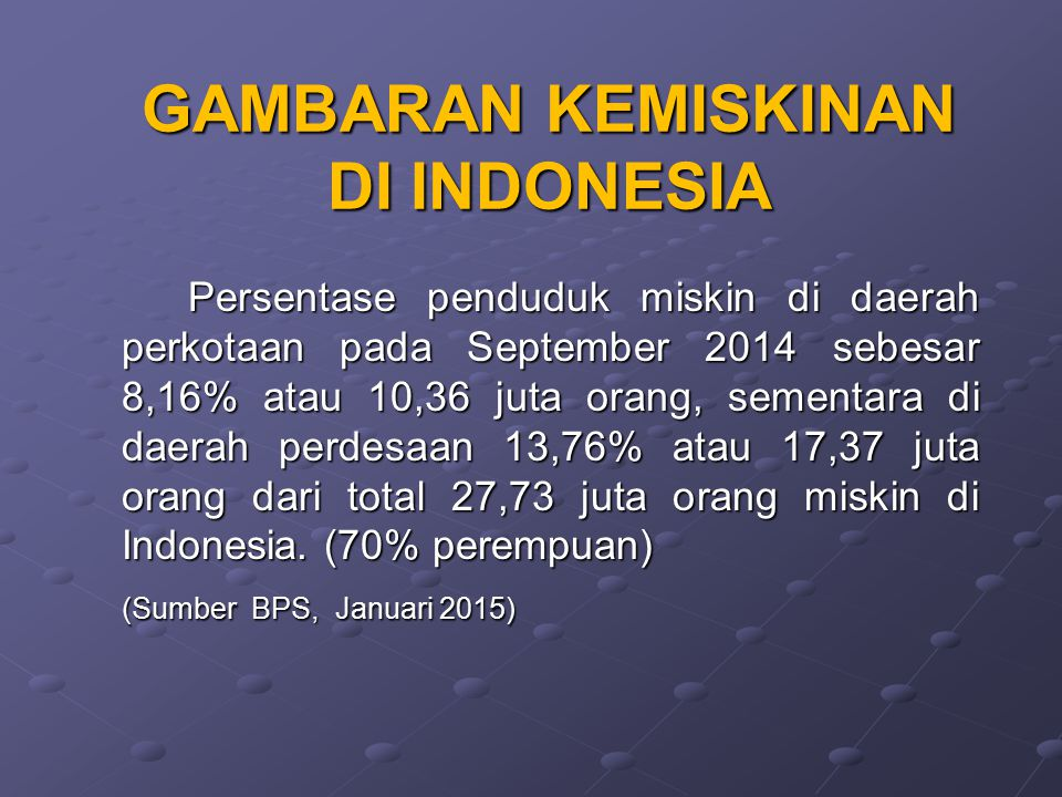 GAMBARAN KEMISKINAN DI INDONESIA Persentase penduduk miskin di daerah perkotaan pada September 2014 sebesar 8,16% atau 10,36 juta orang, sementara di