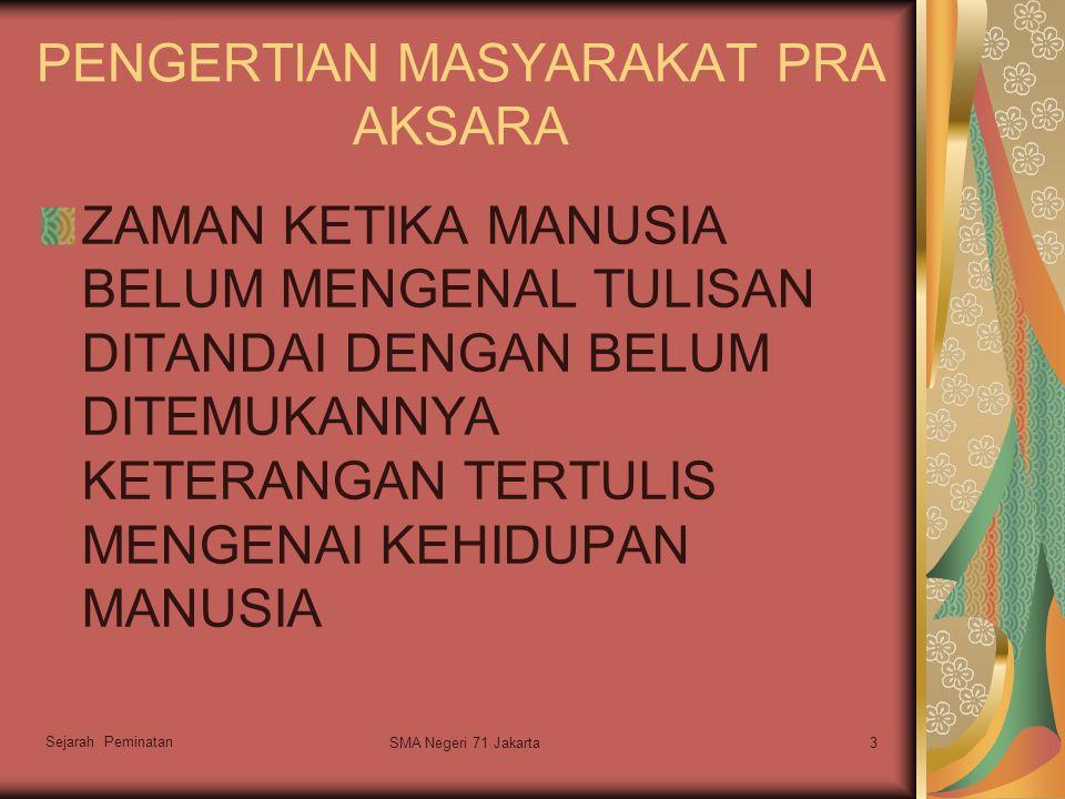PENGERTIAN MASYARAKAT PRA AKSARA ZAMAN KETIKA MANUSIA BELUM MENGENAL TULISAN DITANDAI DENGAN BELUM DITEMUKANNYA KETERANGAN TERTULIS MENGENAI KEHIDUPAN MANUSIA Sejarah Peminatan 3SMA Negeri 71 Jakarta