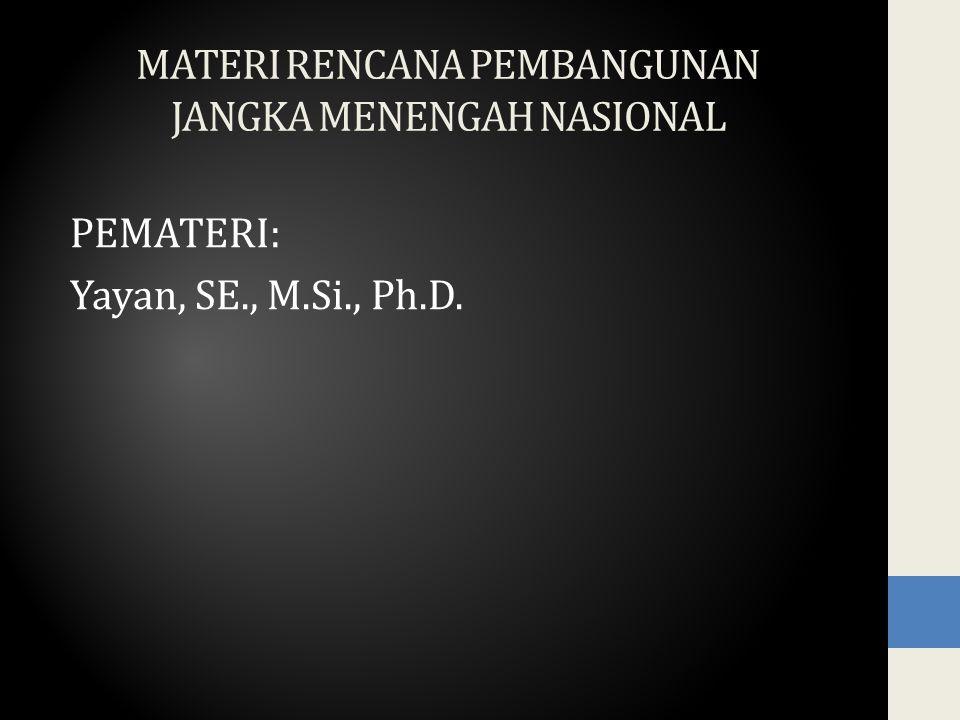 MATERI RENCANA PEMBANGUNAN JANGKA MENENGAH NASIONAL PEMATERI: Yayan, SE., M.Si., Ph.D.