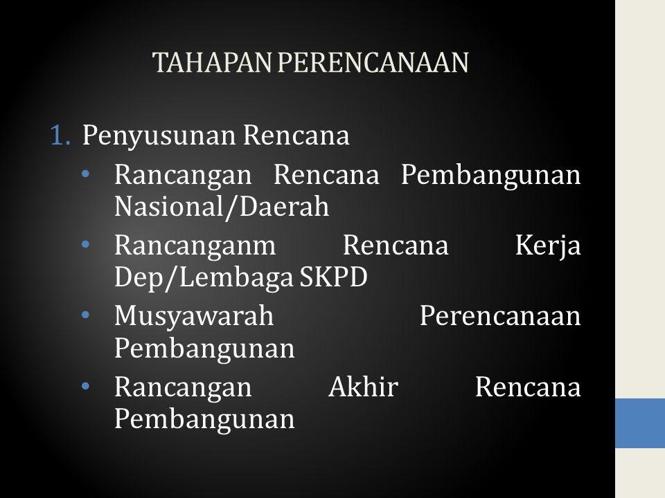 2.Penetapan Rencana RPJP Nas dengan UU dan RPJP Daerah dengan Perda RPJM dengan Peraturan Presiden/Kepala Daerah RKP/RKPD dengan Peraturan Presiden/Kepala Daerah 3.Pengemdalian Pelaksanaan Rencana 4.Evaluasi Kerja