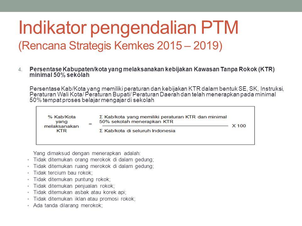 Indikator pengendalian PTM (Rencana Strategis Kemkes 2015 – 2019) 4. Persentase Kabupaten/kota yang melaksanakan kebijakan Kawasan Tanpa Rokok (KTR) m
