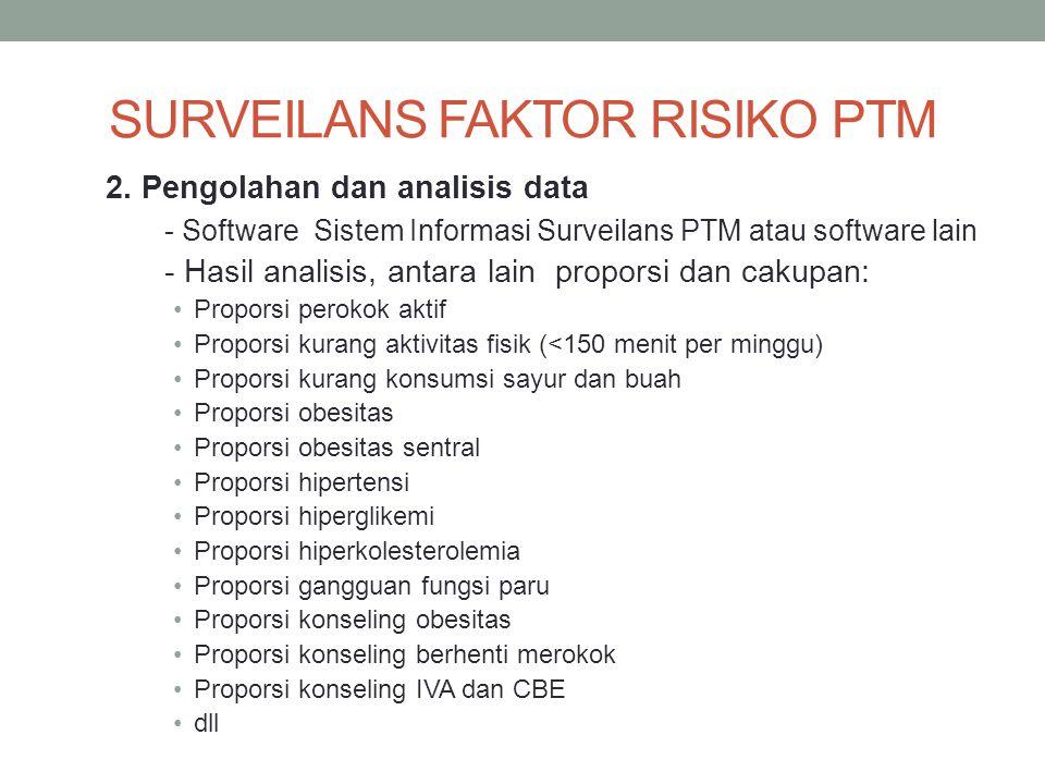 2. Pengolahan dan analisis data - Software Sistem Informasi Surveilans PTM atau software lain - Hasil analisis, antara lain proporsi dan cakupan: Prop