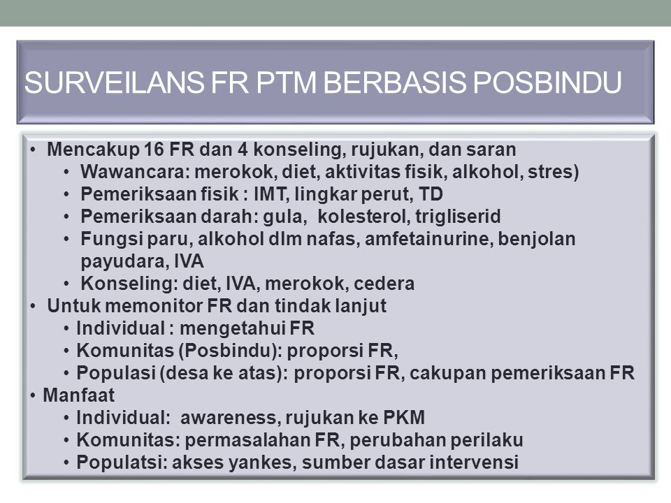 SURVEILANS FR PTM BERBASIS POSBINDU Mencakup 16 FR dan 4 konseling, rujukan, dan saran Wawancara: merokok, diet, aktivitas fisik, alkohol, stres) Peme