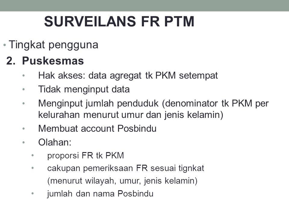 Tingkat pengguna 2. Puskesmas Hak akses: data agregat tk PKM setempat Tidak menginput data Menginput jumlah penduduk (denominator tk PKM per kelurahan