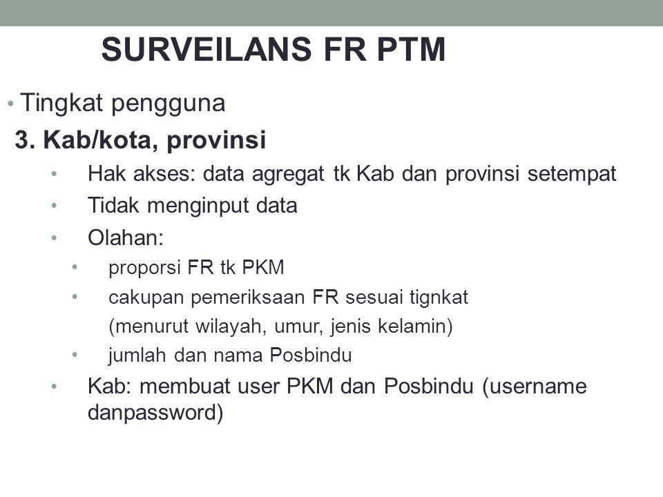 Tingkat pengguna 3. Kab/kota, provinsi Hak akses: data agregat tk Kab dan provinsi setempat Tidak menginput data Olahan: proporsi FR tk PKM cakupan pe