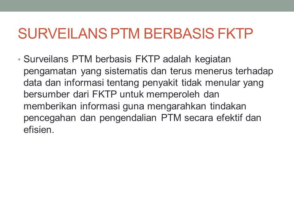 SURVEILANS PTM BERBASIS FKTP Surveilans PTM berbasis FKTP adalah kegiatan pengamatan yang sistematis dan terus menerus terhadap data dan informasi ten