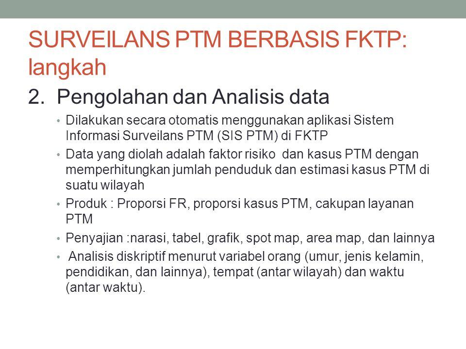 SURVEILANS PTM BERBASIS FKTP: langkah 2. Pengolahan dan Analisis data Dilakukan secara otomatis menggunakan aplikasi Sistem Informasi Surveilans PTM (