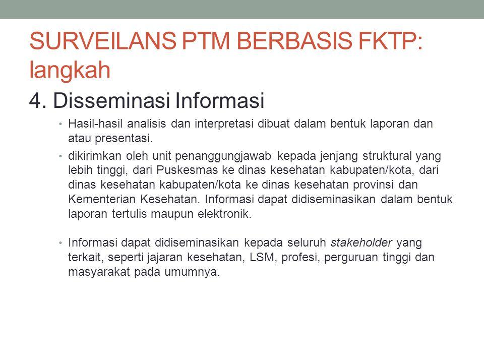 SURVEILANS PTM BERBASIS FKTP: langkah 4. Disseminasi Informasi Hasil-hasil analisis dan interpretasi dibuat dalam bentuk laporan dan atau presentasi.