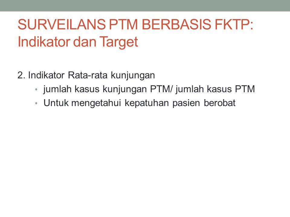 SURVEILANS PTM BERBASIS FKTP: Indikator dan Target 2. Indikator Rata-rata kunjungan jumlah kasus kunjungan PTM/ jumlah kasus PTM Untuk mengetahui kepa