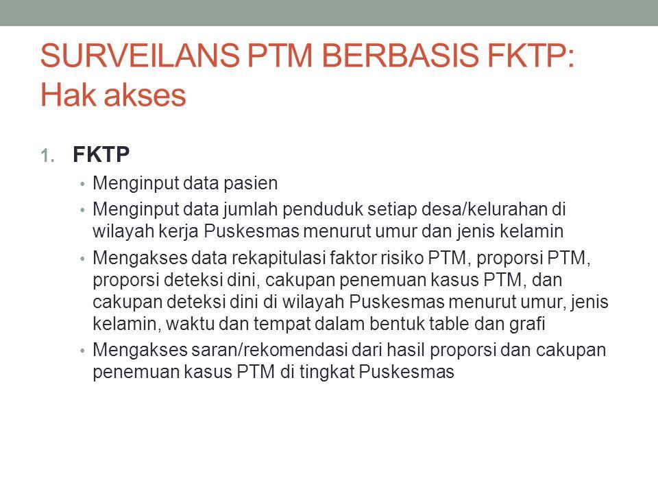 SURVEILANS PTM BERBASIS FKTP: Hak akses 1. FKTP Menginput data pasien Menginput data jumlah penduduk setiap desa/kelurahan di wilayah kerja Puskesmas