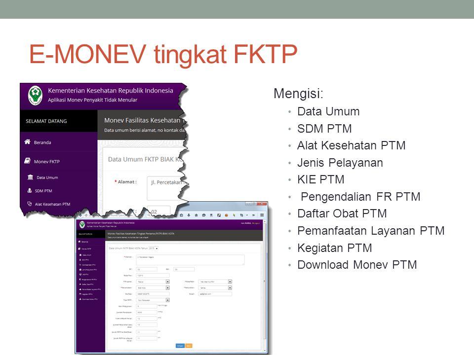 E-MONEV tingkat FKTP Mengisi: Data Umum SDM PTM Alat Kesehatan PTM Jenis Pelayanan KIE PTM Pengendalian FR PTM Daftar Obat PTM Pemanfaatan Layanan PTM