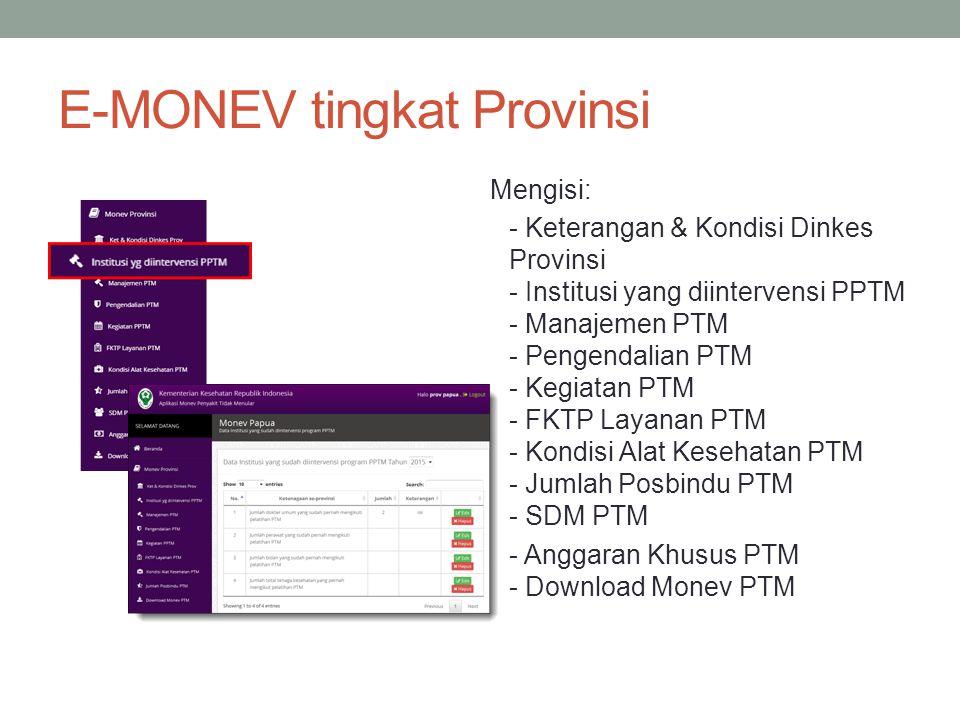 E-MONEV tingkat Provinsi Mengisi: - Keterangan & Kondisi Dinkes Provinsi - Institusi yang diintervensi PPTM - Manajemen PTM - Pengendalian PTM - Kegia