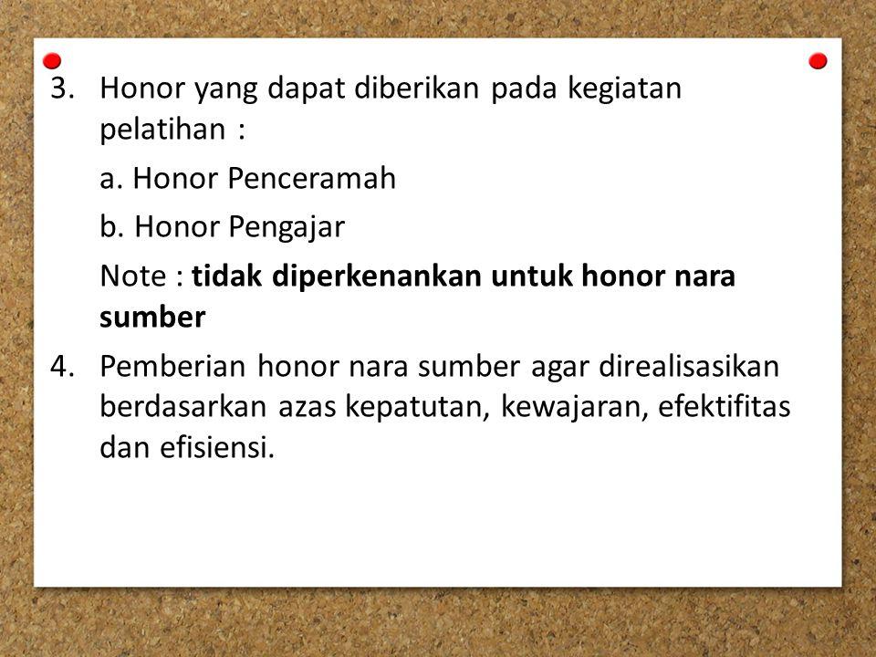 3.Honor yang dapat diberikan pada kegiatan pelatihan : a.