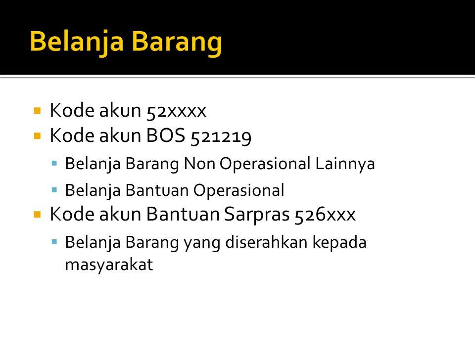  Kode akun 52xxxx  Kode akun BOS 521219  Belanja Barang Non Operasional Lainnya  Belanja Bantuan Operasional  Kode akun Bantuan Sarpras 526xxx 