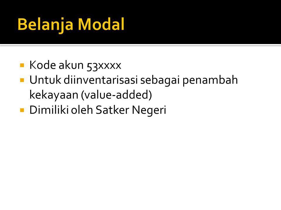  Kode akun 53xxxx  Untuk diinventarisasi sebagai penambah kekayaan (value-added)  Dimiliki oleh Satker Negeri