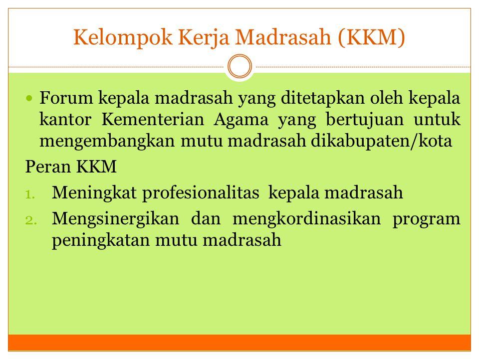 Kelompok Kerja Madrasah (KKM) Forum kepala madrasah yang ditetapkan oleh kepala kantor Kementerian Agama yang bertujuan untuk mengembangkan mutu madra