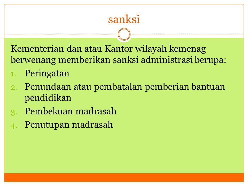 sanksi Kementerian dan atau Kantor wilayah kemenag berwenang memberikan sanksi administrasi berupa: 1. Peringatan 2. Penundaan atau pembatalan pemberi