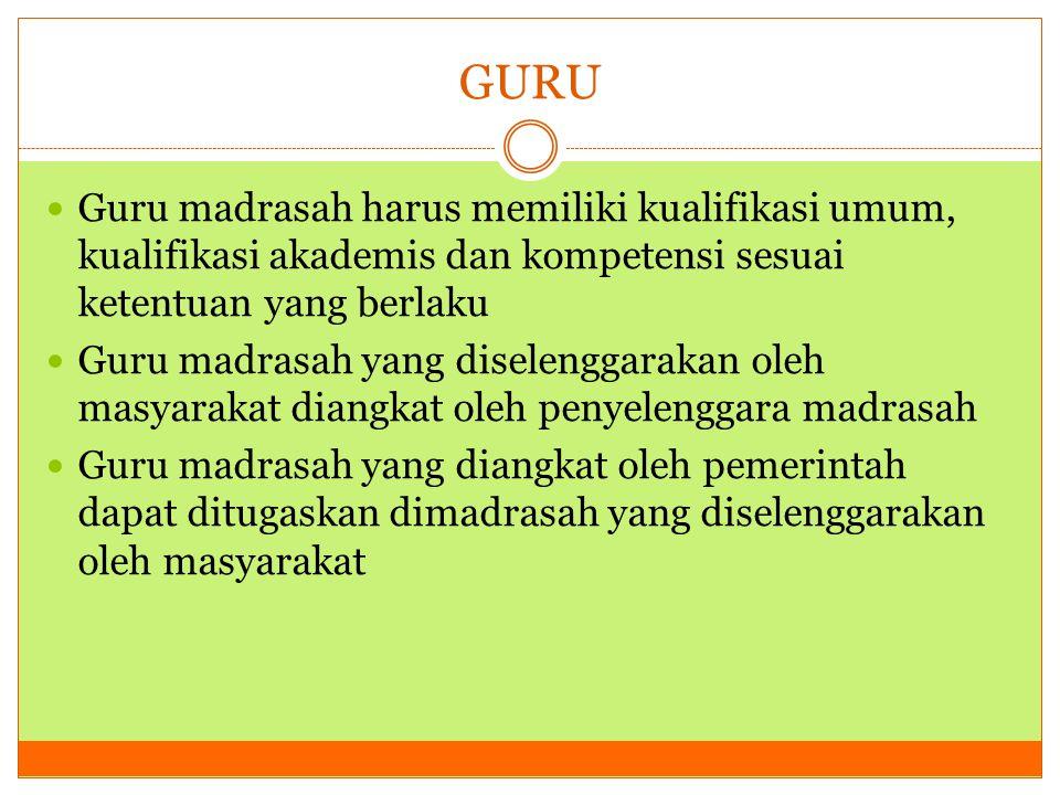 GURU Guru madrasah harus memiliki kualifikasi umum, kualifikasi akademis dan kompetensi sesuai ketentuan yang berlaku Guru madrasah yang diselenggarak