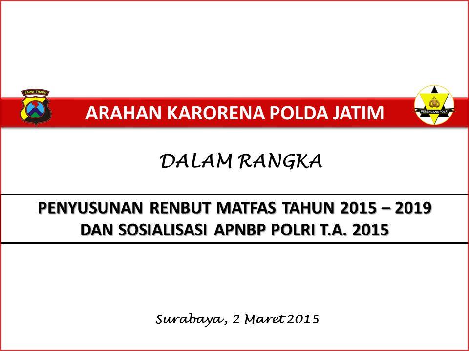 ARAHAN KARORENA POLDA JATIM DALAM RANGKA Surabaya, 2 Maret 2015 PENYUSUNAN RENBUT MATFAS TAHUN 2015 – 2019 DAN SOSIALISASI APNBP POLRI T.A.
