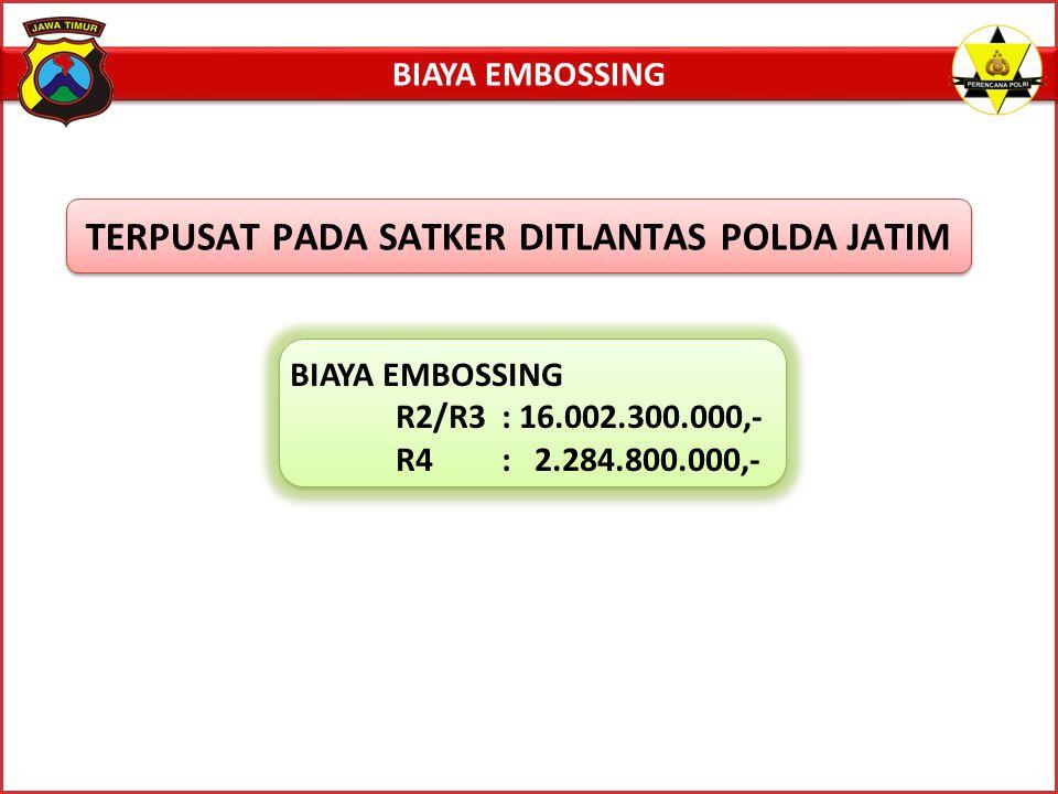 BIAYA EMBOSSING R2/R3: 16.002.300.000,- R4: 2.284.800.000,- BIAYA EMBOSSING TERPUSAT PADA SATKER DITLANTAS POLDA JATIM