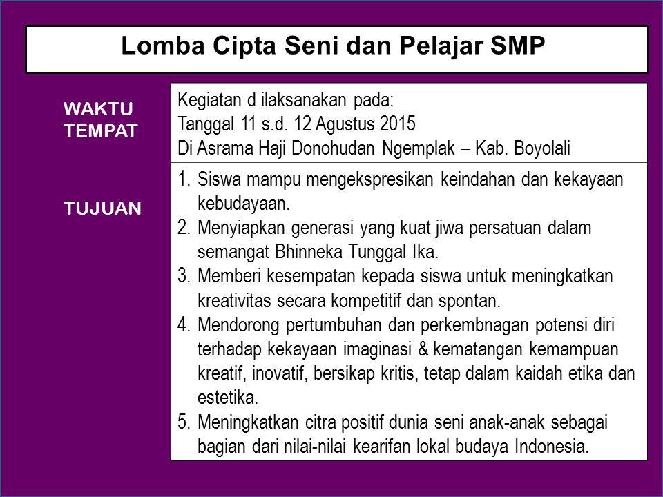 Peserta berjumlah 140 siswa SMP : Lomba Seni Lukis : 35 sisswa Lomba Desain Motif Batik : 35 sisswa Lomba Cipta Lagu : 35 sisswa Lomba Cipta Puisi : 35 sisswa 1.Tersedianya wadh bagi anak-anak Indonesia untuk melakukan pengembangan potensinya.